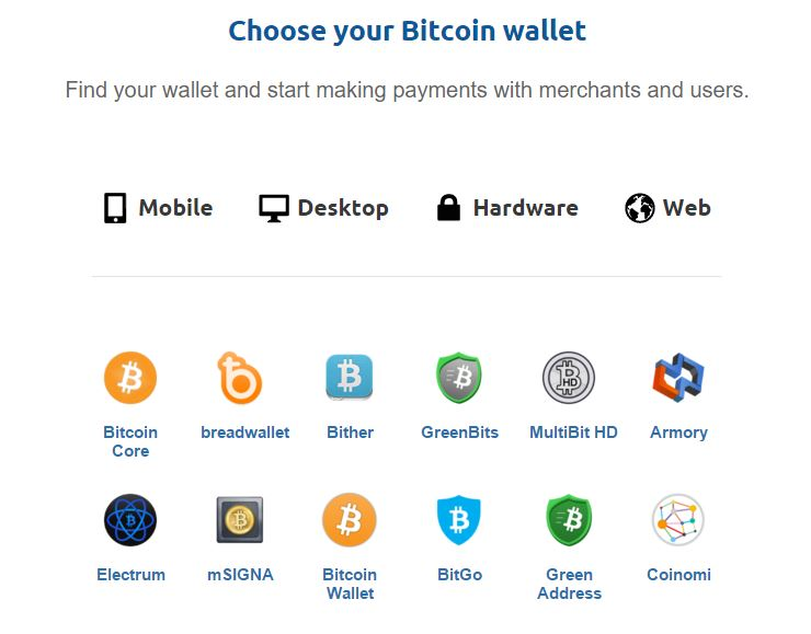 Bitcoin.org Choose your Wallet Page without Coinbase.